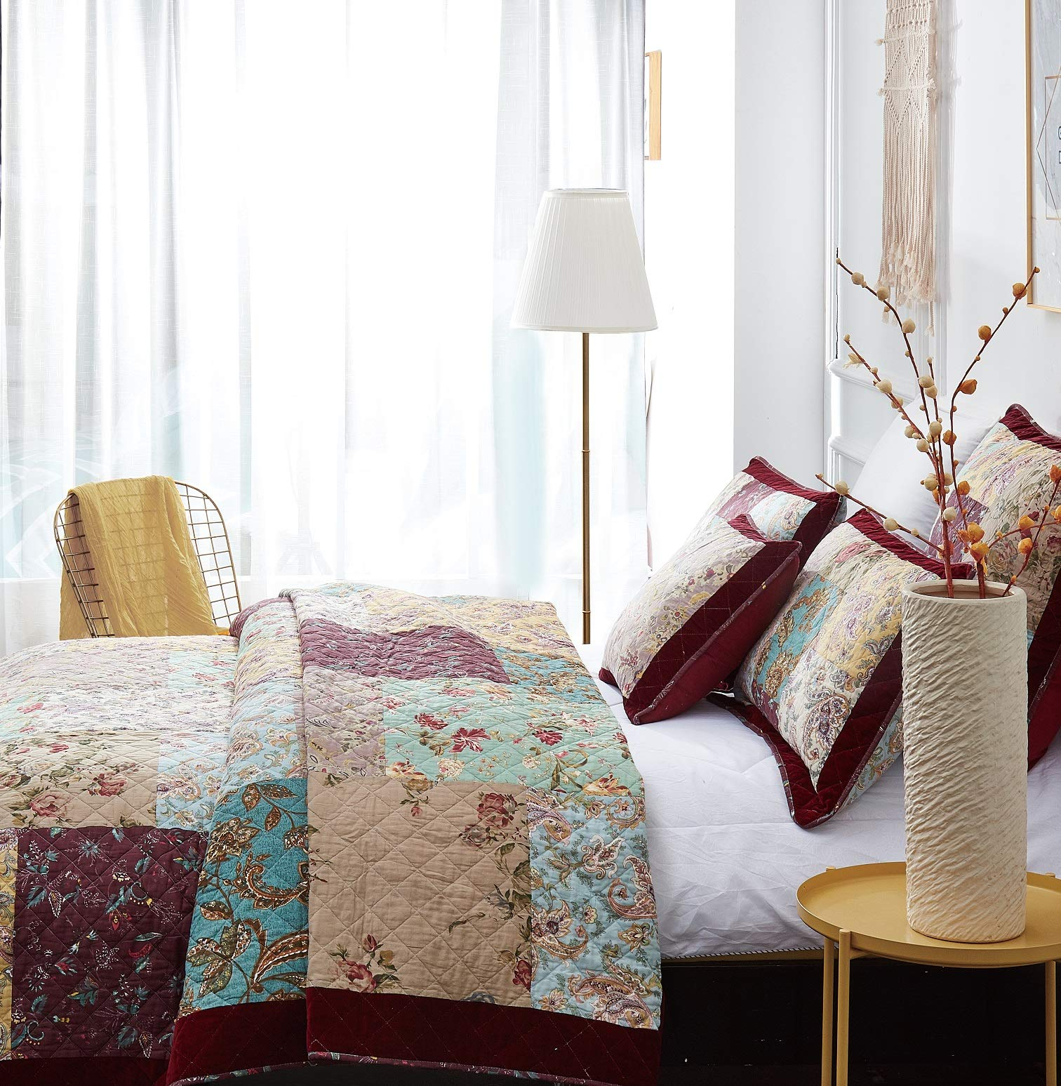 DaDa Bedding Bohemian Patchwork Bedspread - Burgundy Wine Velvety Trim - Vintage Floral Roses Paisley - Bright Vibrant Multi-Colorful Quilted Set - Queen - 3-Pieces by DaDa Bedding Collection (Image #3)