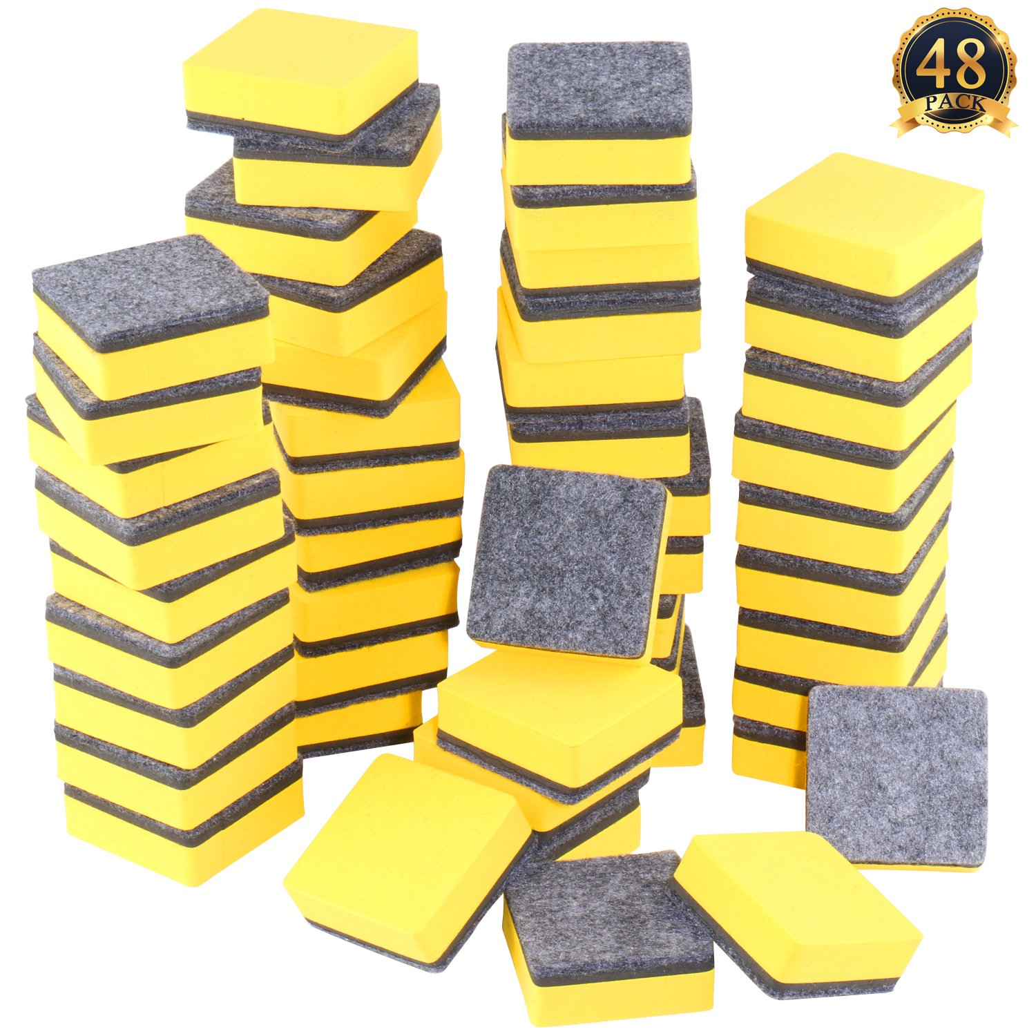 SUBANG 48 Pack Magnetic Whiteboard Eraser Magnetic Dry Erasers Bulk Chalkboard Cleansers Wiper for Kids, Home, School, and Office (Yellow, 2 x 2 inch)