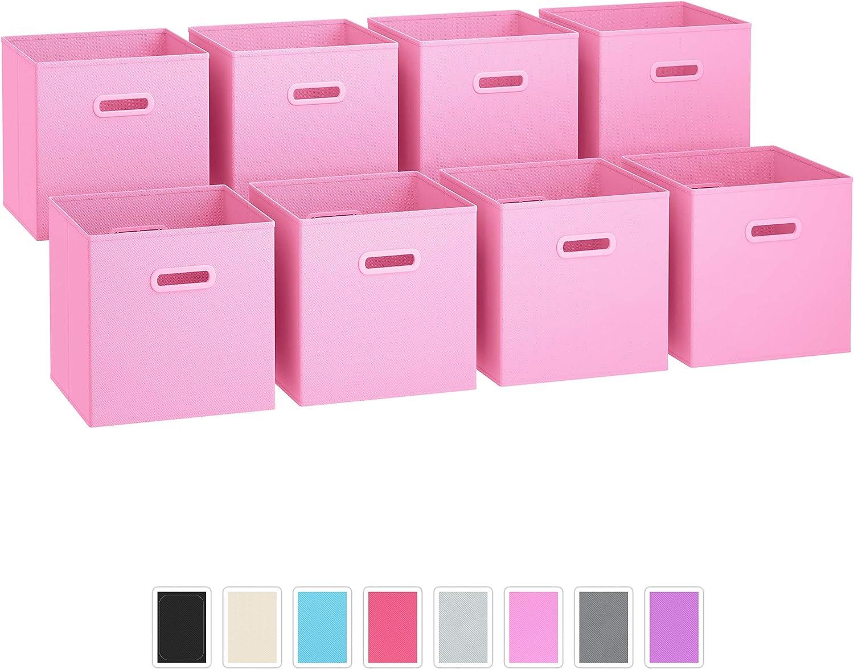 per riporre oggetti a cubo con doppi manici in plastica organizer per armadi e cassetti Set di 8 contenitori a cubi pieghevoli in tessuto colore: rosa