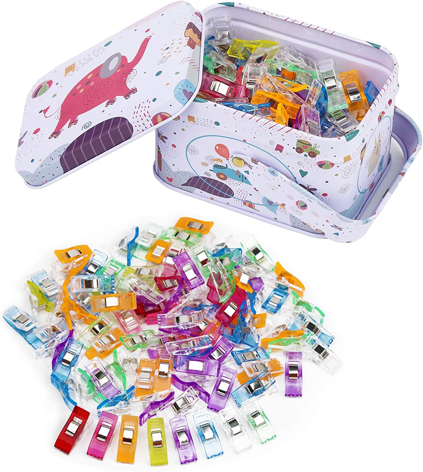 Quilting Clips with Tin Box Package Crafts Assorted Colors Fabric Clips Paper Work and Hanging Little Things Multipurpose Sewing Clips for Quilting 100 Pcs Sewing Clips Sew Binding