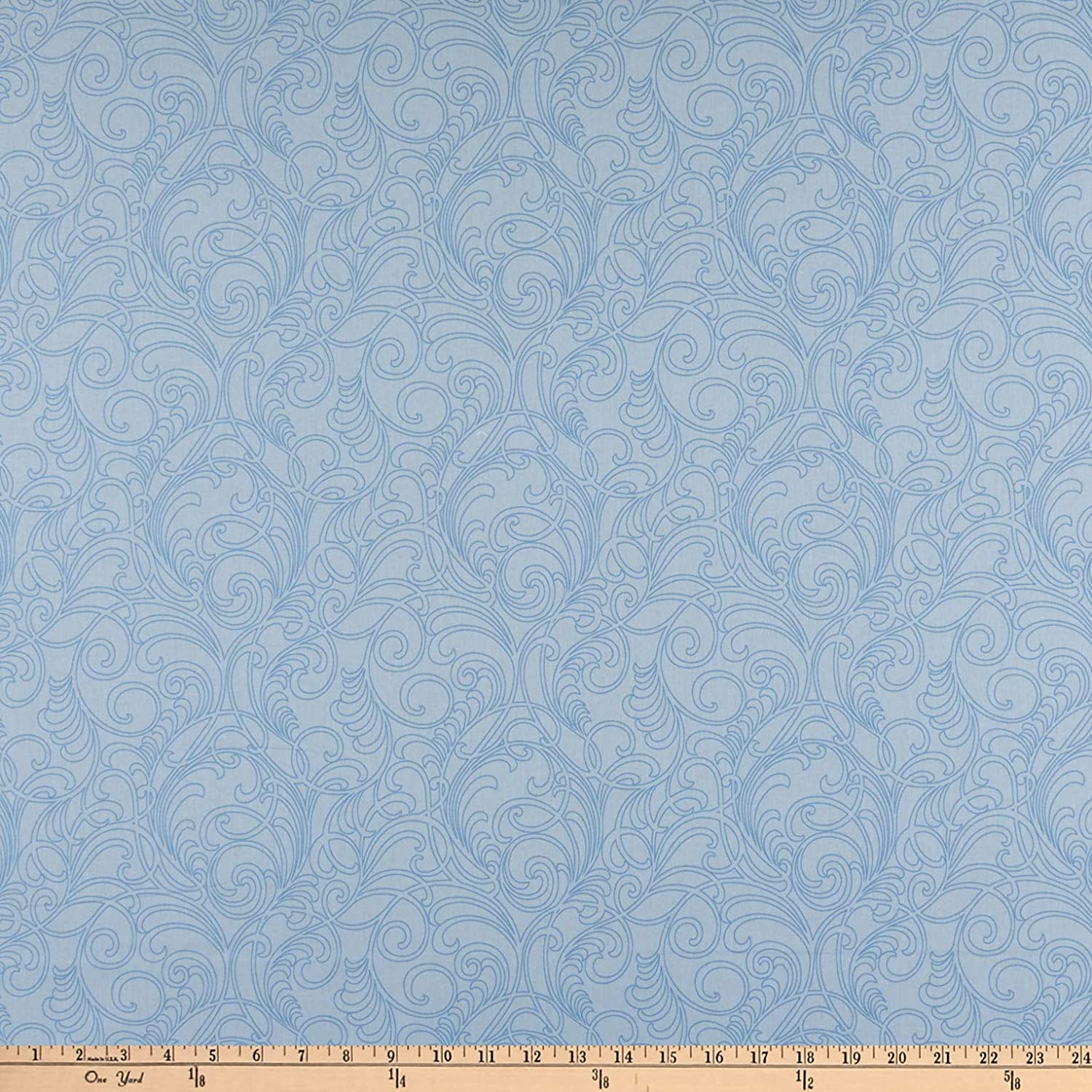 Benartex Classic Scrolls And Blenders Meadow Scroll Light Blue Quilt Fabric By The Yard