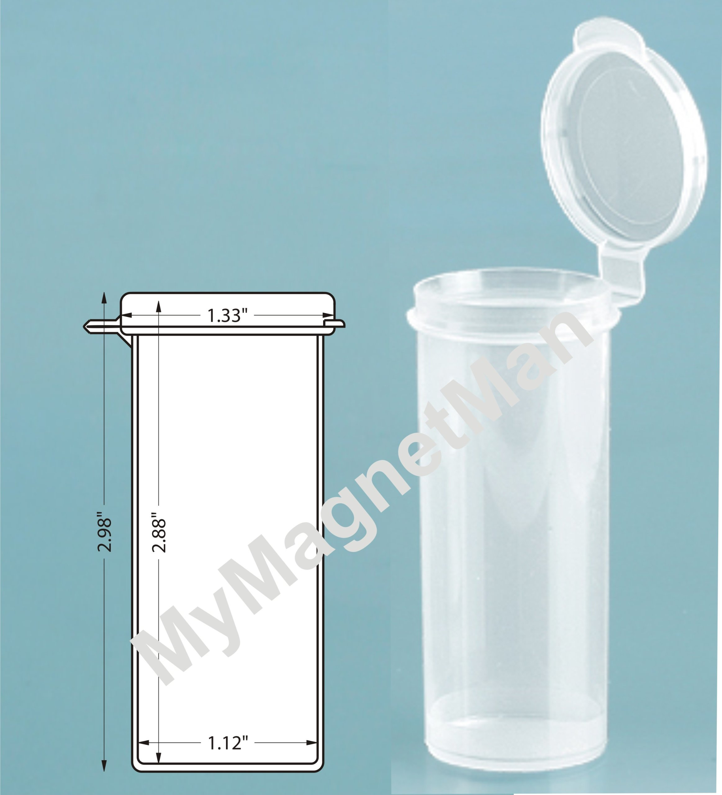 MyMagnetMan Clear Polypro Plastic Craft Storage Vial with Hinged Lid Containers (3.00'' x 1.34'' 10 Vials)