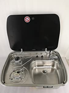 GR-588 Boat Caravan Camper 2 Burner Gas Stove Hob and Sink Combo with Glass Lid (Sink Stove and Faucet)