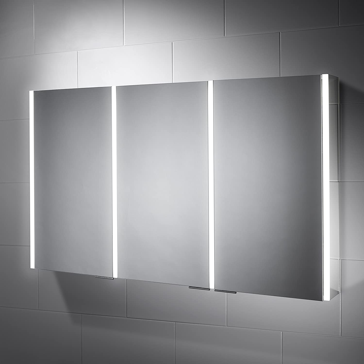 bathroom mirror with lighting. Pebble Grey Bathroom Cabinet - Sienna LED Illuminated Mirror Shaver Socket, Infra-Red Sensor Switch 1200mm(W) X 700mm(H) 127mm(D): With Lighting H