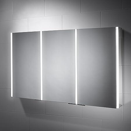 Pebble Grey Bathroom Cabinet   Sienna LED Illuminated Bathroom Cabinet  Mirror   Shaver Socket, Infra