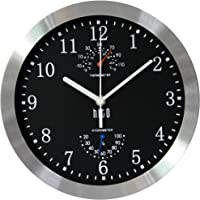 hito Silent Non-Ticking Wall Clock- Metal Frame Glass Cover, 10 inches