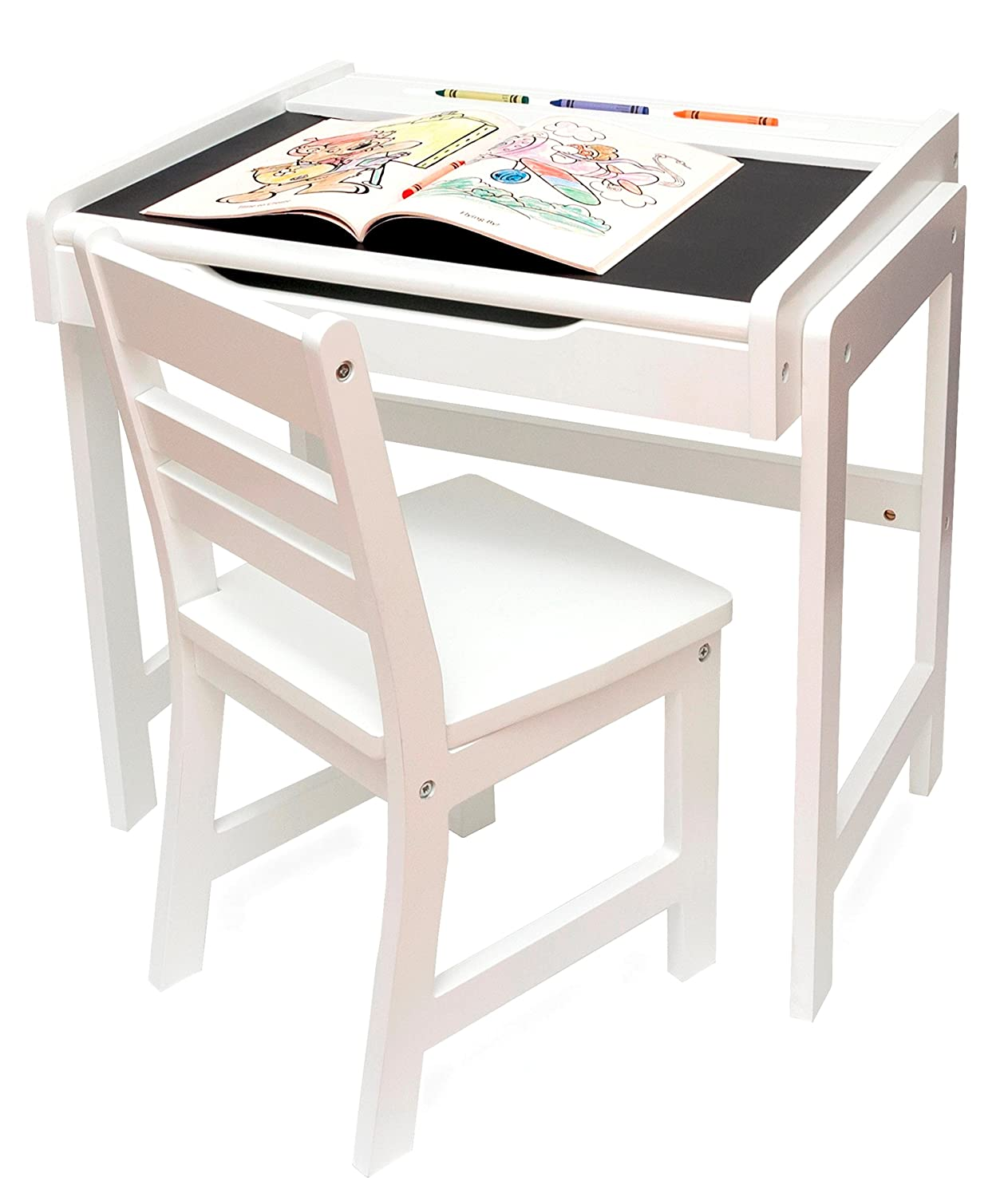 Superieur Amazon.com: Lipper International 654WH Childu0027s Desk With Chalkboard Top And  Chair Set, White: Kitchen U0026 Dining