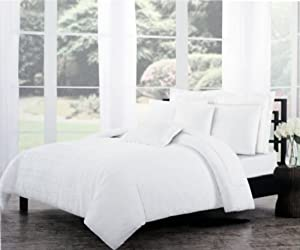 Tahari Bedding Solid White Textured Seersucker Stripes Duvet Cover Set King 3 Piece Boho Ruffled Ruched French Farm House Shabby Chic Folded Pattern Quilt Comforter Cover