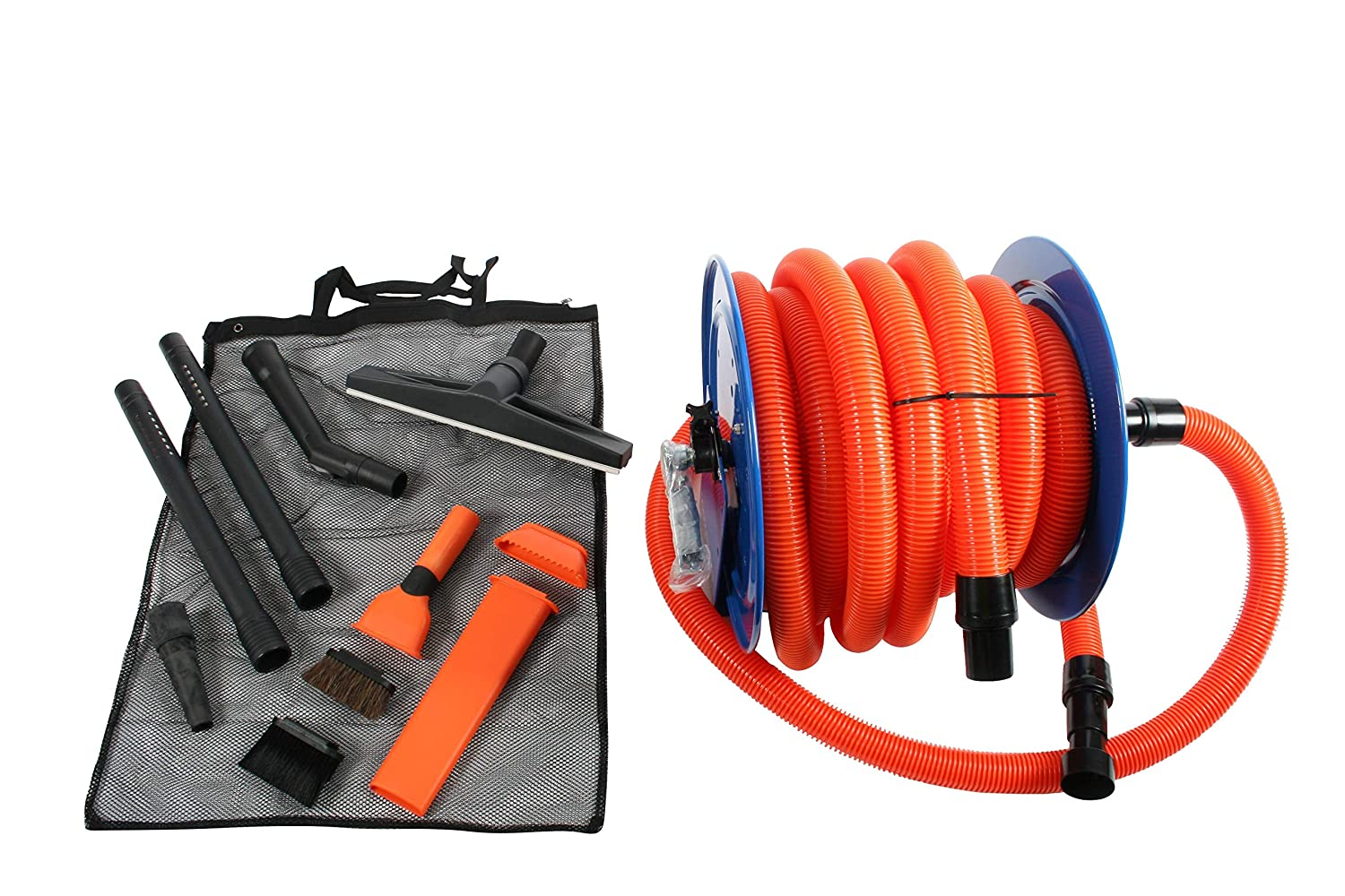 Hose for Shop Vacuums Cen-Tec Systems 94082 Industrial Steel Reel and Attachment Kit with 50 Ft Orange