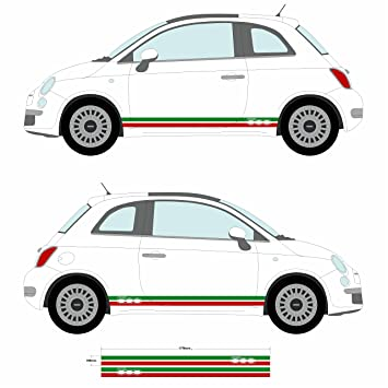 Fiat 500 italian flag side skirt stripes car decal graphic stickers ss20003