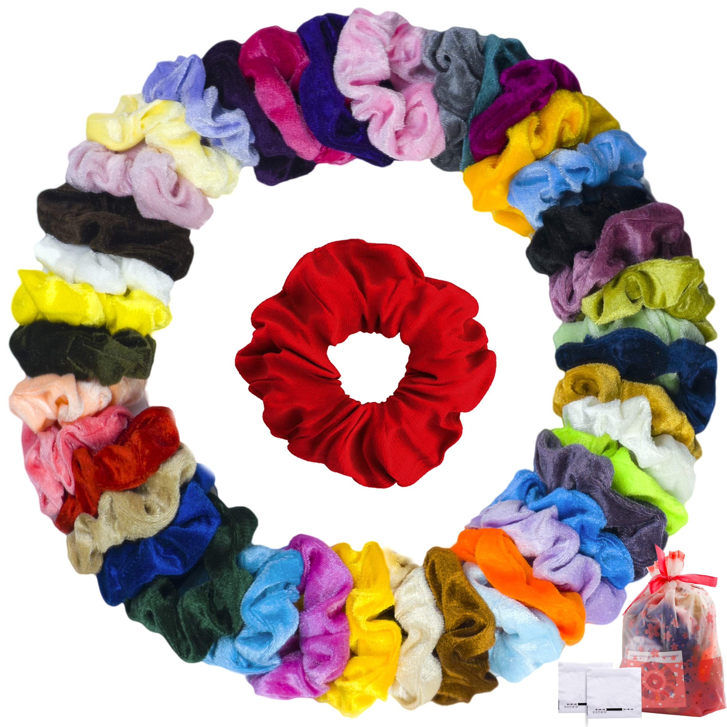 XATMAX 40 Scrunchies for Girls Hair Bobbles - VSCO Girls Scrunchies Velvet Pack Ponytail Hair Scrunchies for Girls Scrunchies Pack with Storage Bags