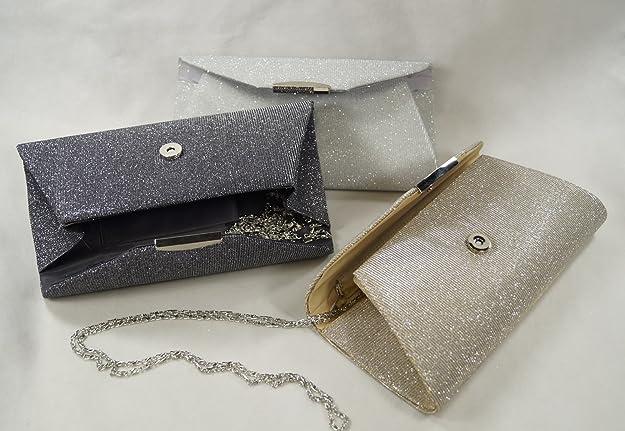 Glitzer Clutch Abendtasche Hardcase Box Abi Tasche Minaudiere Handtasche 6002