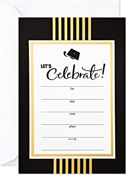 Set of 10 High School Graduation Party Invitations with Envelopes