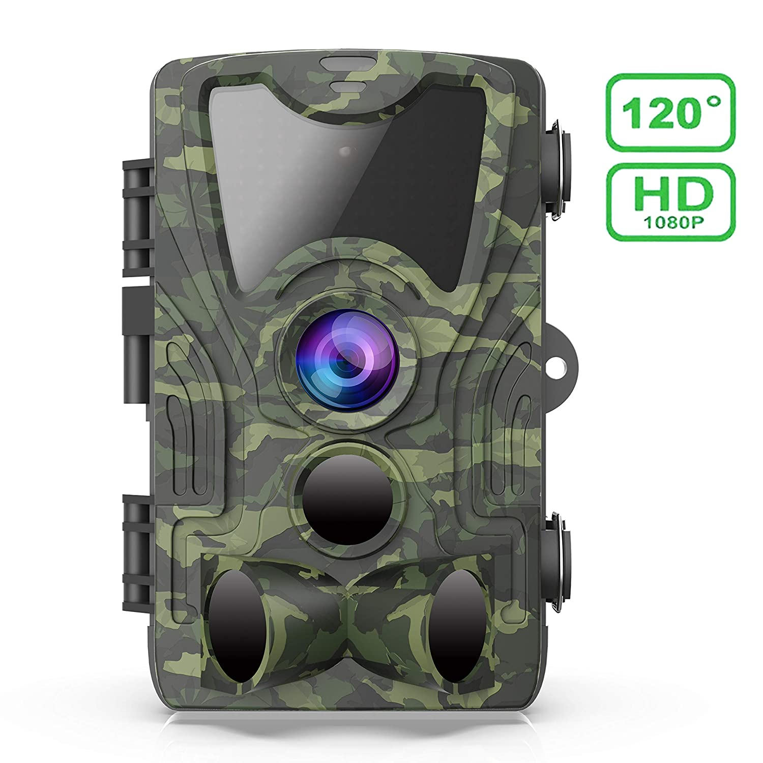 FHDCAM Trail Camera Scouting Hunting Cam with Motion Activated 1080P HD Night Vision 120 Wide Angle Lens IP65 Waterproof Game Camera for Wildlife  New Version