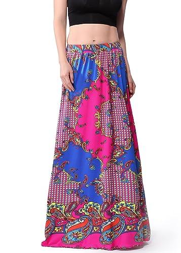 Polka Dots de la Mujer Vintage A-Line Falda Larga Maxi Beachwear