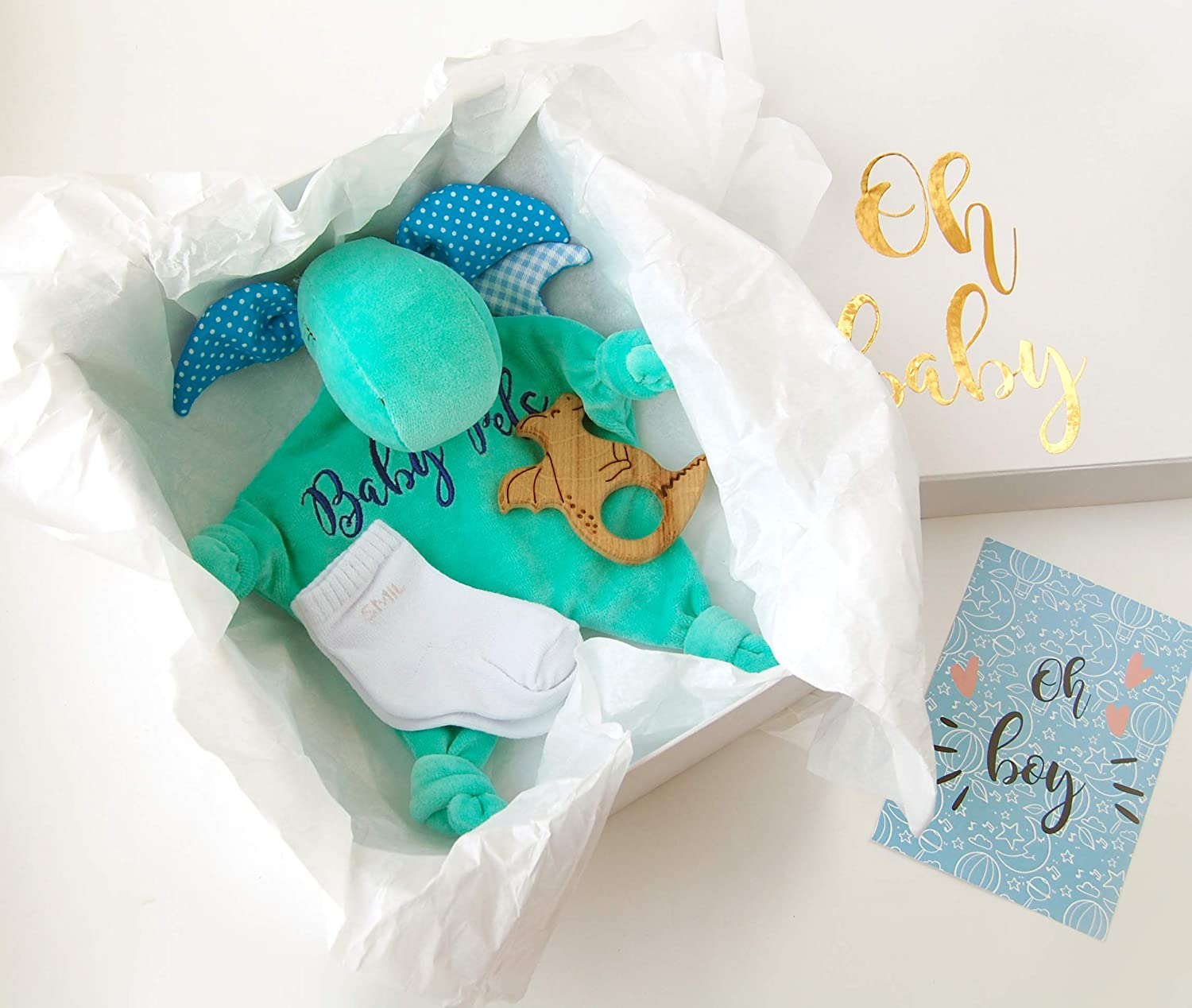 Gift Box Teether Personalized Dragon Lovey Baby Boy Gift Box