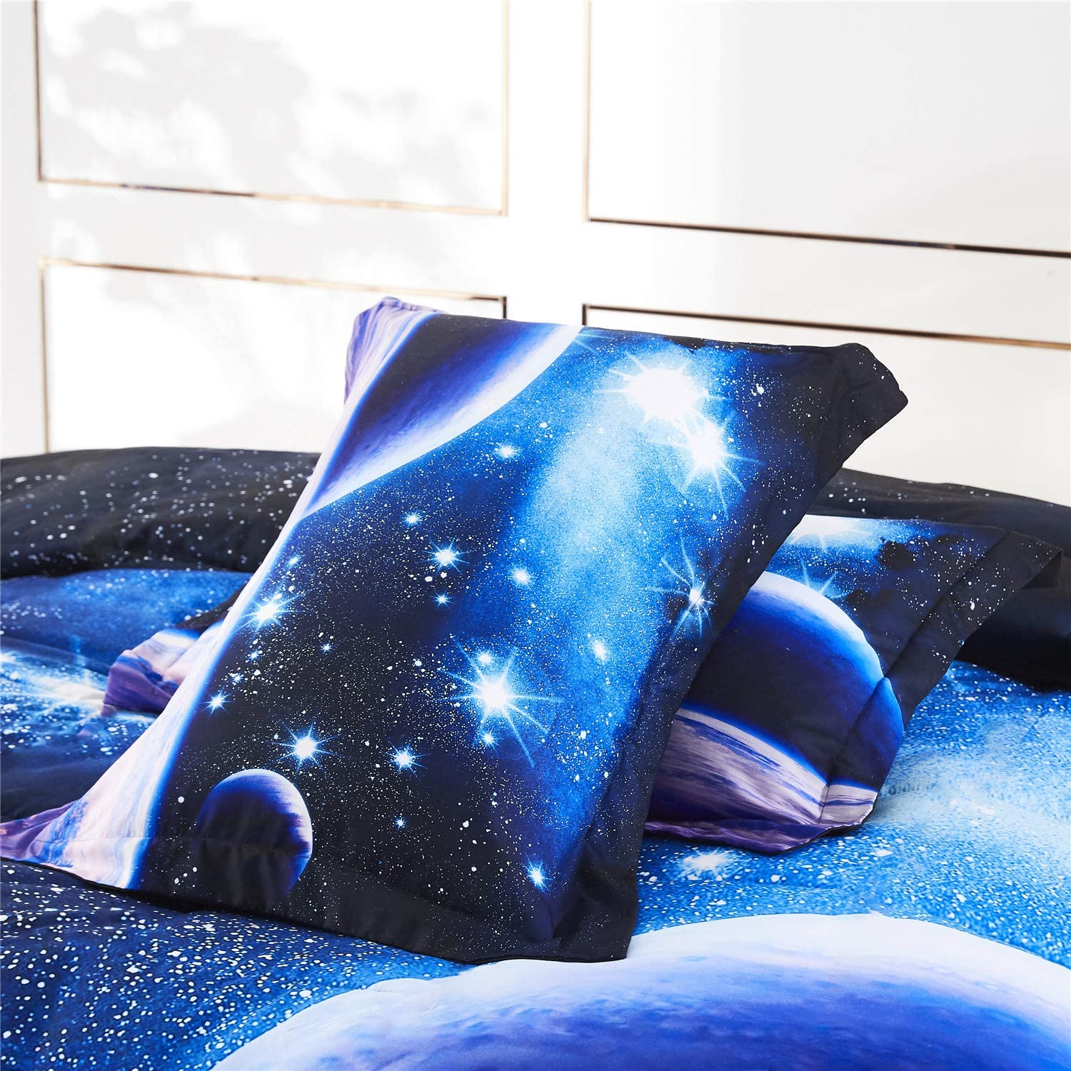 HIG 3D Bedding Set 3 Piece Queen Size Outer Space Astronaut Print Duvet Cover with Two Matching Pillow Covers P24,Queen Super Soft Duvet Cover-General for Men and Women Especially for Children