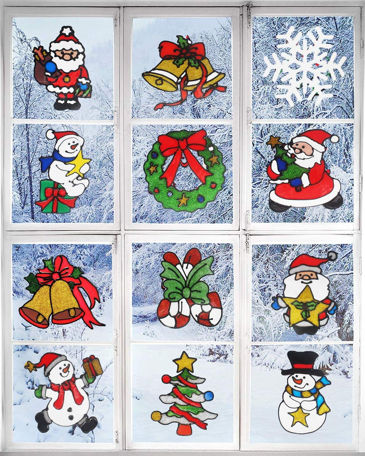 Benvo 12 Pack Christmas Decorations Holiday Window Clings Stickers Include Cute Santa Claus, Snowman, Christmas Tree, Bells, Snowflake, Candy Cane for Window Decor Xmas Festive Decorations