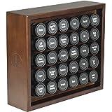 AllSpice Wooden Spice Rack, Includes 30 4oz Jars- Walnut Stain