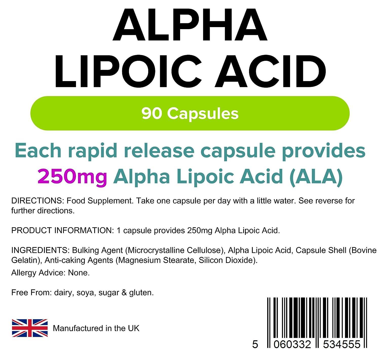 Lindens Ácido alfa lipoico 250 mg en cápsulas | 90 Paquete | Un ácido graso y antioxidante potente usado en todas las células del cuerpo: Amazon.es: Salud y ...