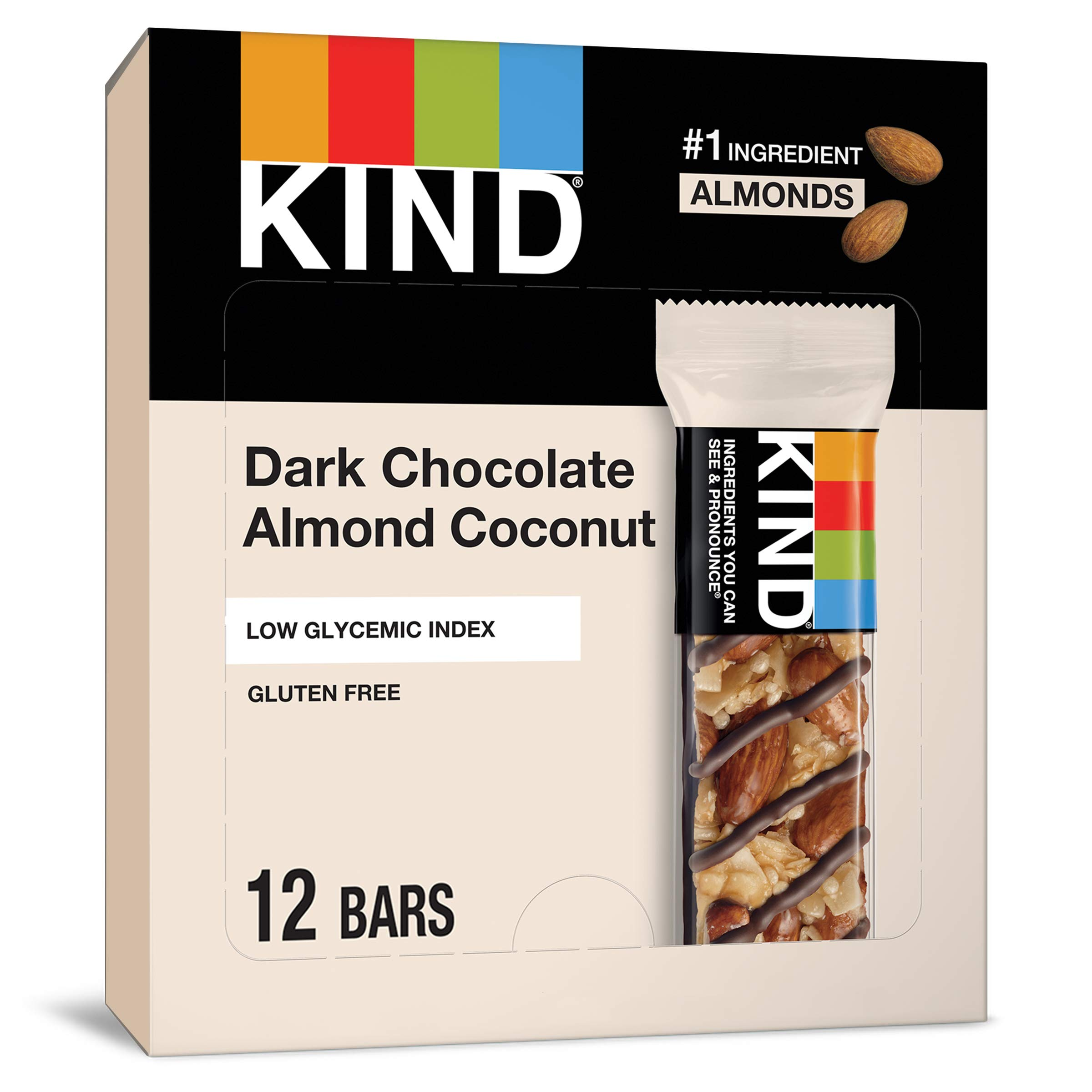KIND Bars Low Glycemic Index Gluten Free Bars 1.4 OZ, Dark Chocolate Almond & Coconut, (Pack of 12)