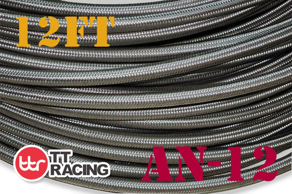 Swivel Black Fitting Kit 12 AN-12 AN12 Stainless Steel Braided Fuel Gas Line Hose 12FT