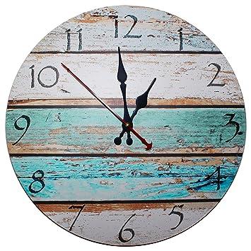d3ffdc90df34c7 Kurtzy Horloge Murale en Bois 30cm - Horloge Vintage Silencieuse à Chiffres  - Pendule Murale Ronde
