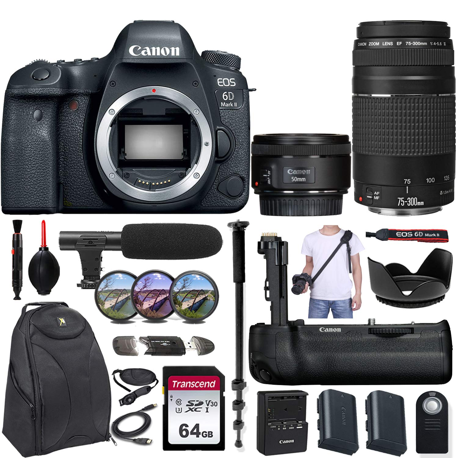 Canon EOS 6D Mark II DSLR Camera w/Canon EF 50mm f/1.8 STM and EF 75-300mm f/4-5.6 III Lens + Canon BG-E21 Battery Grip & Exclusive Accessory Bundle