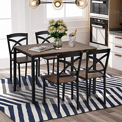 Goujxcy 5-Piece Industrial Wooden Dining Set