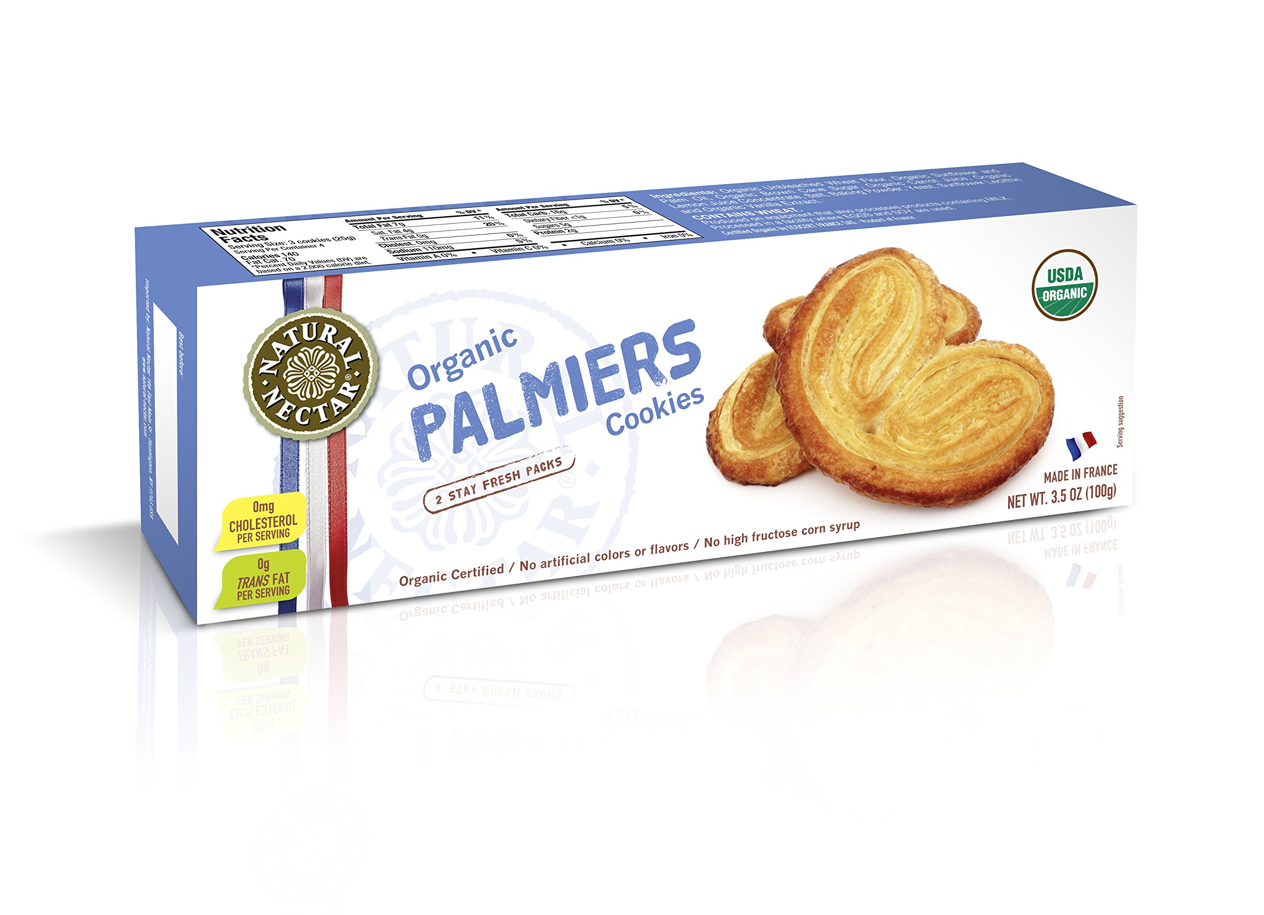 Natural Nectar Palmiers Cookies, 3.5 Ounce (Pack of 12)