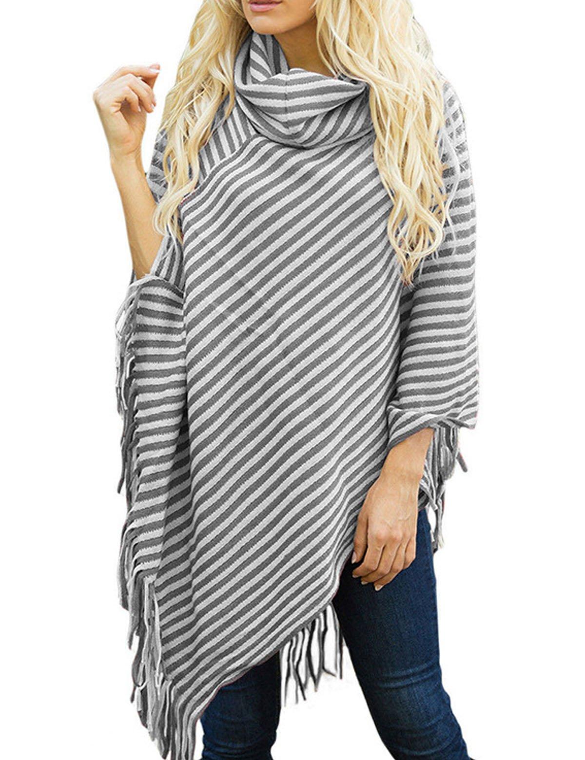 JYAOVO Womens Fashion Cape Poncho Turtleneck Knit Striped Tassel Cloak Coat Outwear One Size Grey