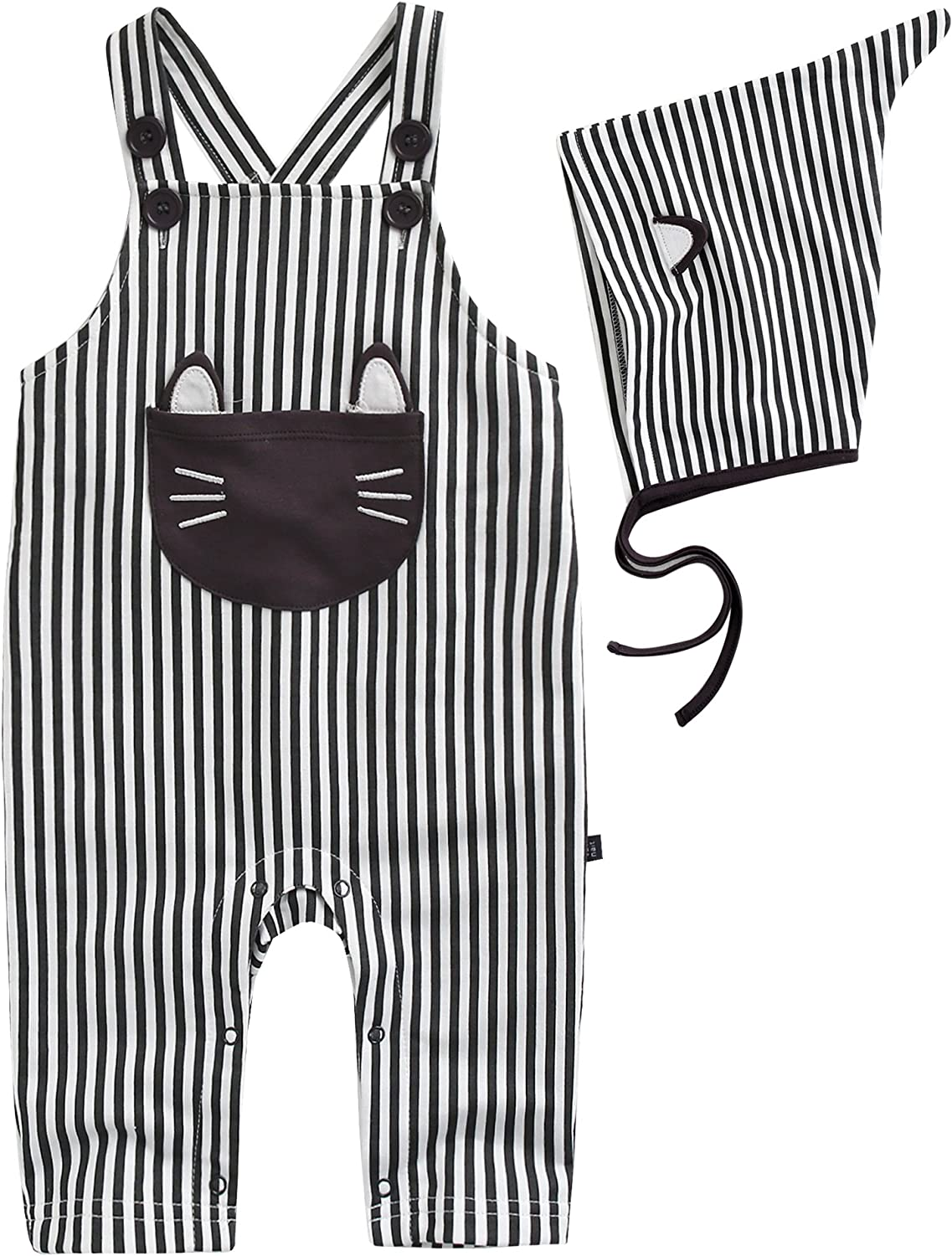 Vaenait baby 0-24 Months Boys Girls Striped Overall Pants with Hat Kitty
