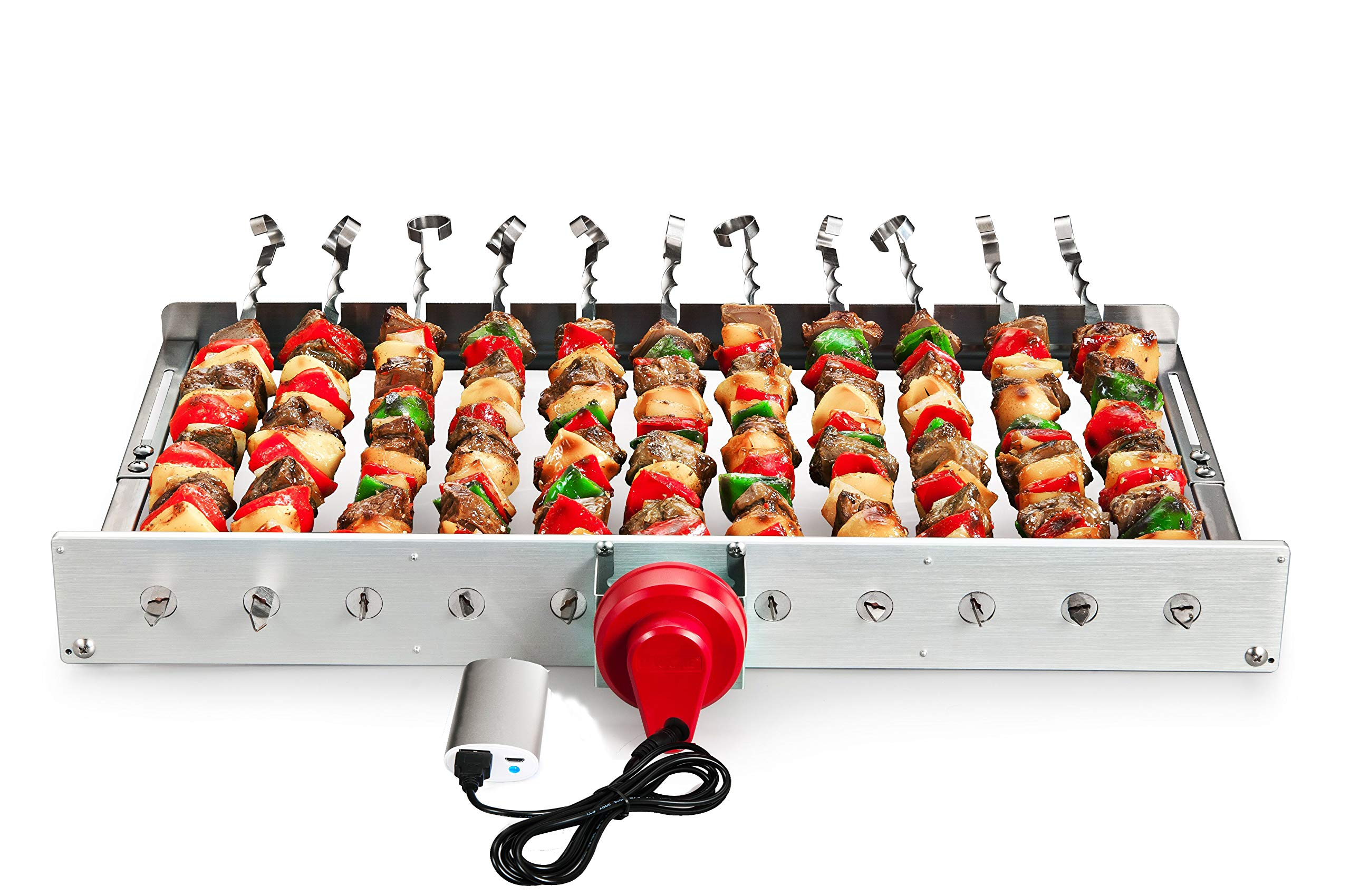 HAOONE Portable Battery Operated Automatic BBQ Grill Rotisserie with 11 Skewers by HAOONE