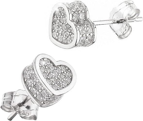 Orecchini da donna con cuore in argento 925 con zircone al lobo