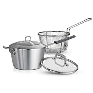 Tramontina USA, Inc 80114/512DS Tramontina Professional 5.5 Qt. Covered, Satin Finish, Made in USA Deep Fryer, Quart