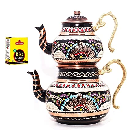 Traditional Turkish Tea Maker Stainless Steel Caydanlik Medium Red Handle 500 g