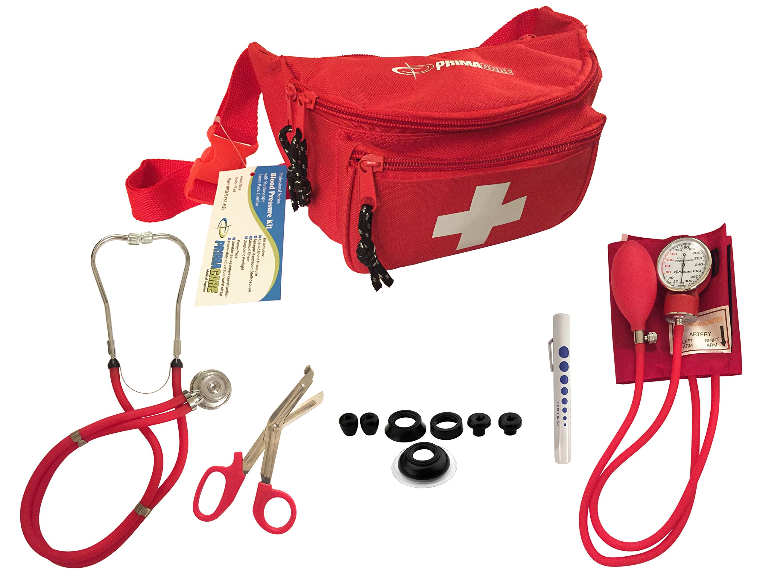 Primacare KB-9181-RD Professional Series Blood Pressure Kit with Sprague Rappaport Style Stethoscope Fanny Pack Combo, Red