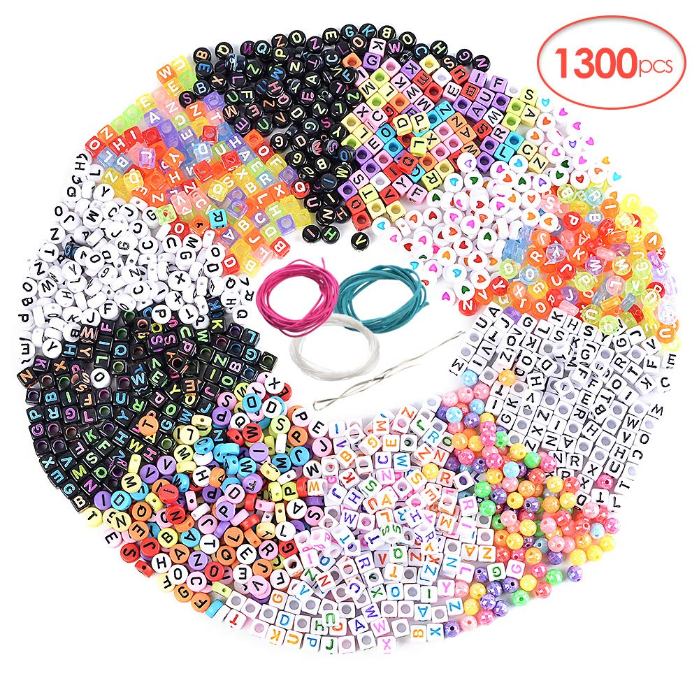 Souarts 1300PCS Acrylic Letter Beads for Bracelets Craft Beads for DIY Jewelry Kit Accessories Handmade Jewelry Material Alphabet Letter Beads for Jewelry Making Beads for Crafts (Multicolor) by Souarts