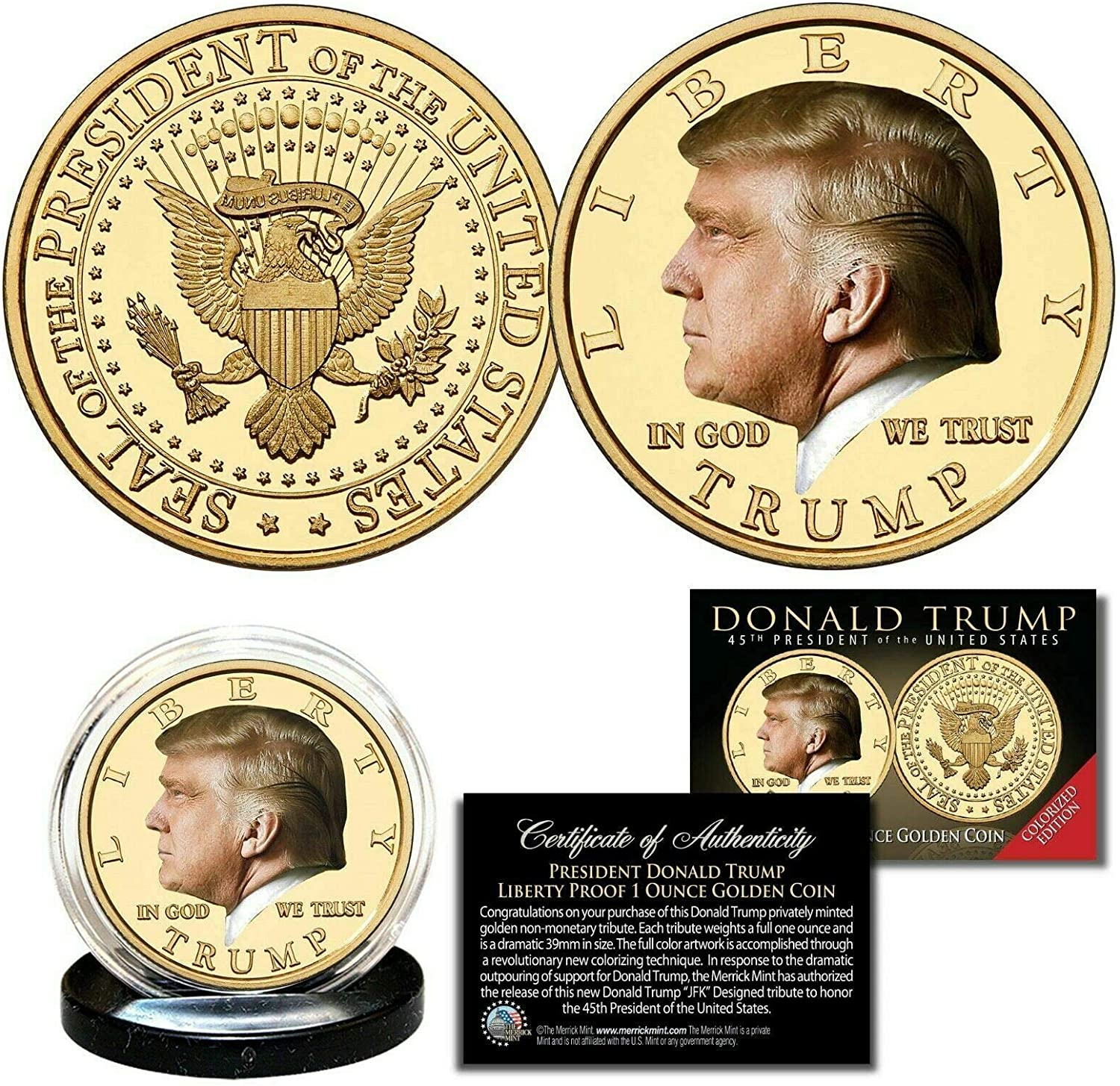 MKMT Donald Trump 45th President Colorized Liberty Proof 1 OZ Golden Coin! COA & Display Stand!!