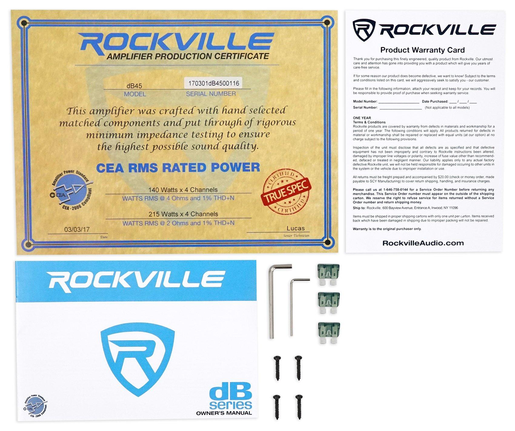 Rockville Db45 3200 Watt 1600w Rms 4 Channel Amplifier Car Stereo 2 X 20 Amp Loud By