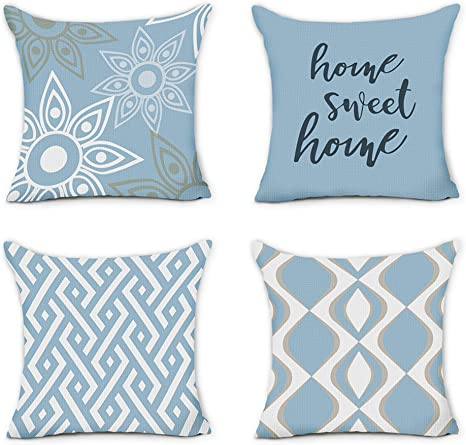 Hexagram Home Decorative Pillow Covers 20 X 20 Set Of 4 Blue Modern Geometric Striped Throw Pillow Covers Linen Cushion Case For Living Room Sofa Couch Indoor Outdoor Home Sweet Home