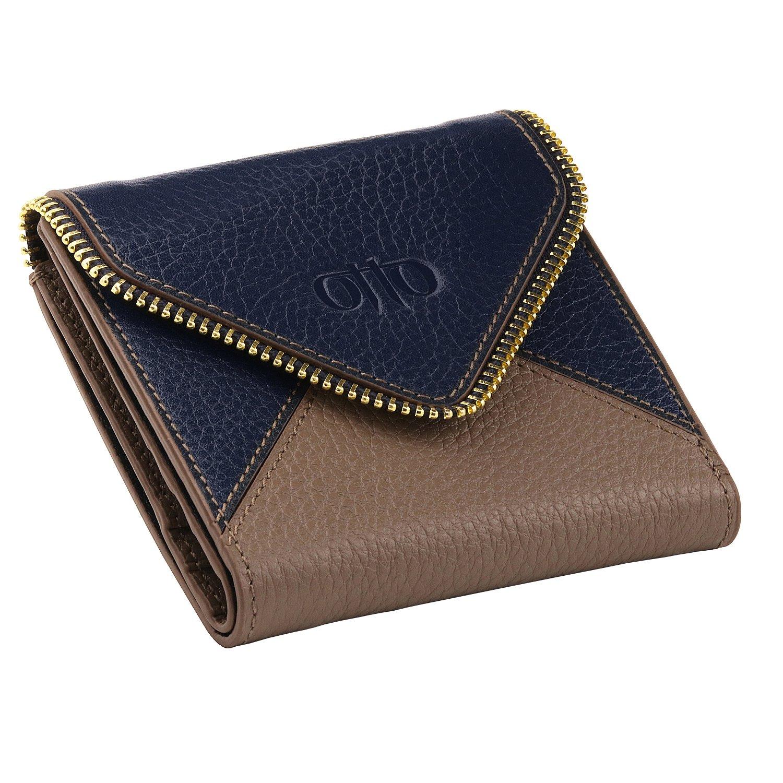 OTTO Genuine Leather Envelope Style Wallet - RFID Blocking – Unisex (Navy Blue)