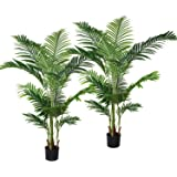 Lvydec 2 Pack Artificial Areca Palm Tree Decoration, 5.2ft Faux Palm Tree with 17 Palm Leaves Faux Tropical Plant in Pot for