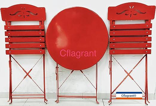 Cflagrant® Table de Jardin/Balcon Bistrot avec Ses 2 Chaises Assorties  Metal Epoxy et Bois Peint (Rouge)