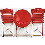 """Cflagrant® Table de Jardin / Balcon """"Bistrot"""" avec ses 2 Chaises Assorties Metal Epoxy et Bois Peint (Rouge)"""