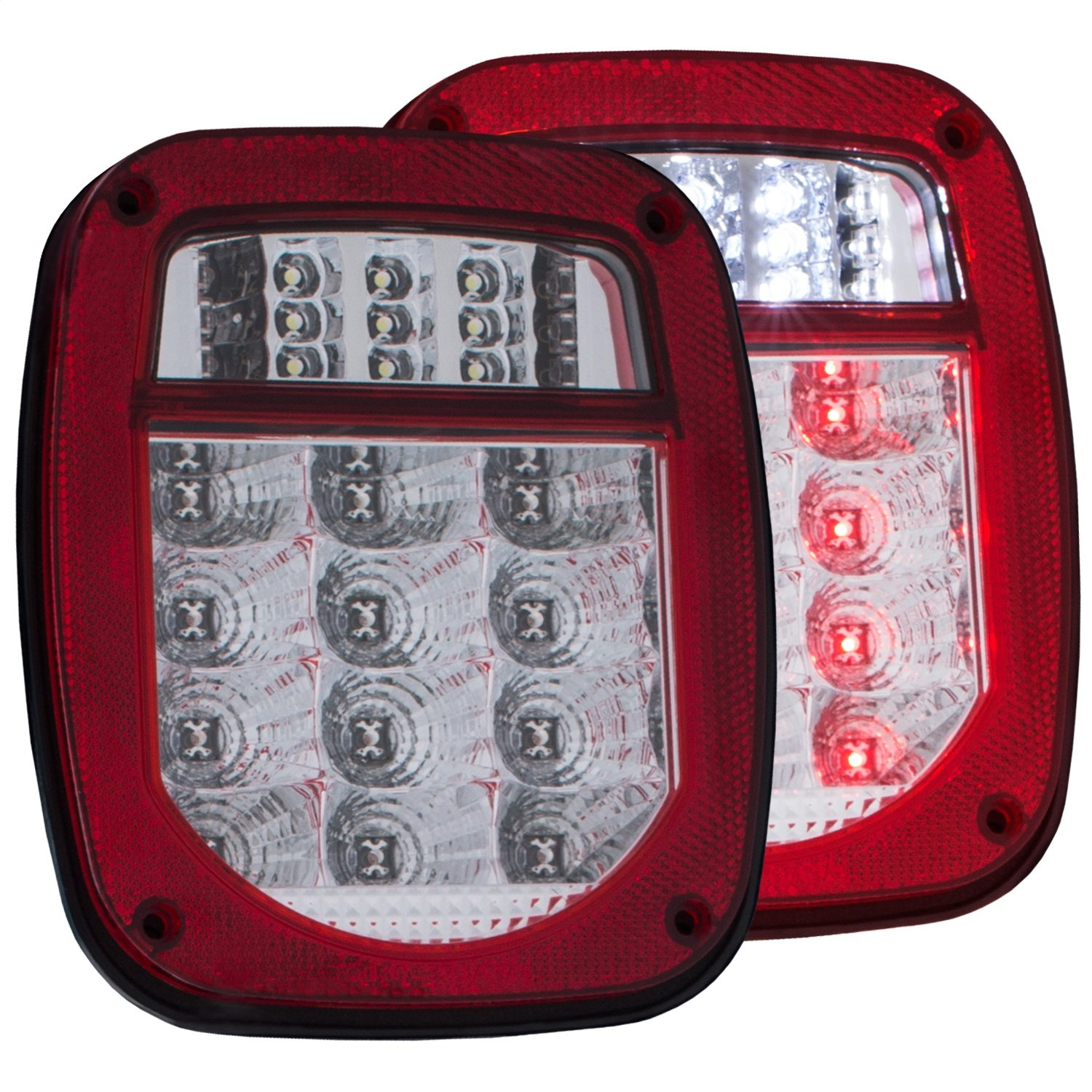 Anzo Usa 861082 Tail Light Assembly Led Red Clear Lens 1994 Toyota Pickup Wiring Chrome Housing Pair Automotive