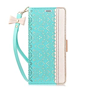 WWW iPhone Xs Max Case,iPhone Xs Max Wallet Case, [Luxurious Romantic Carved Flower] Leather Wallet Case with [Inside Makeup Mirror] and [Kickstand Feature] for iPhone Xs Max 6.5'' (2018) Mint Green