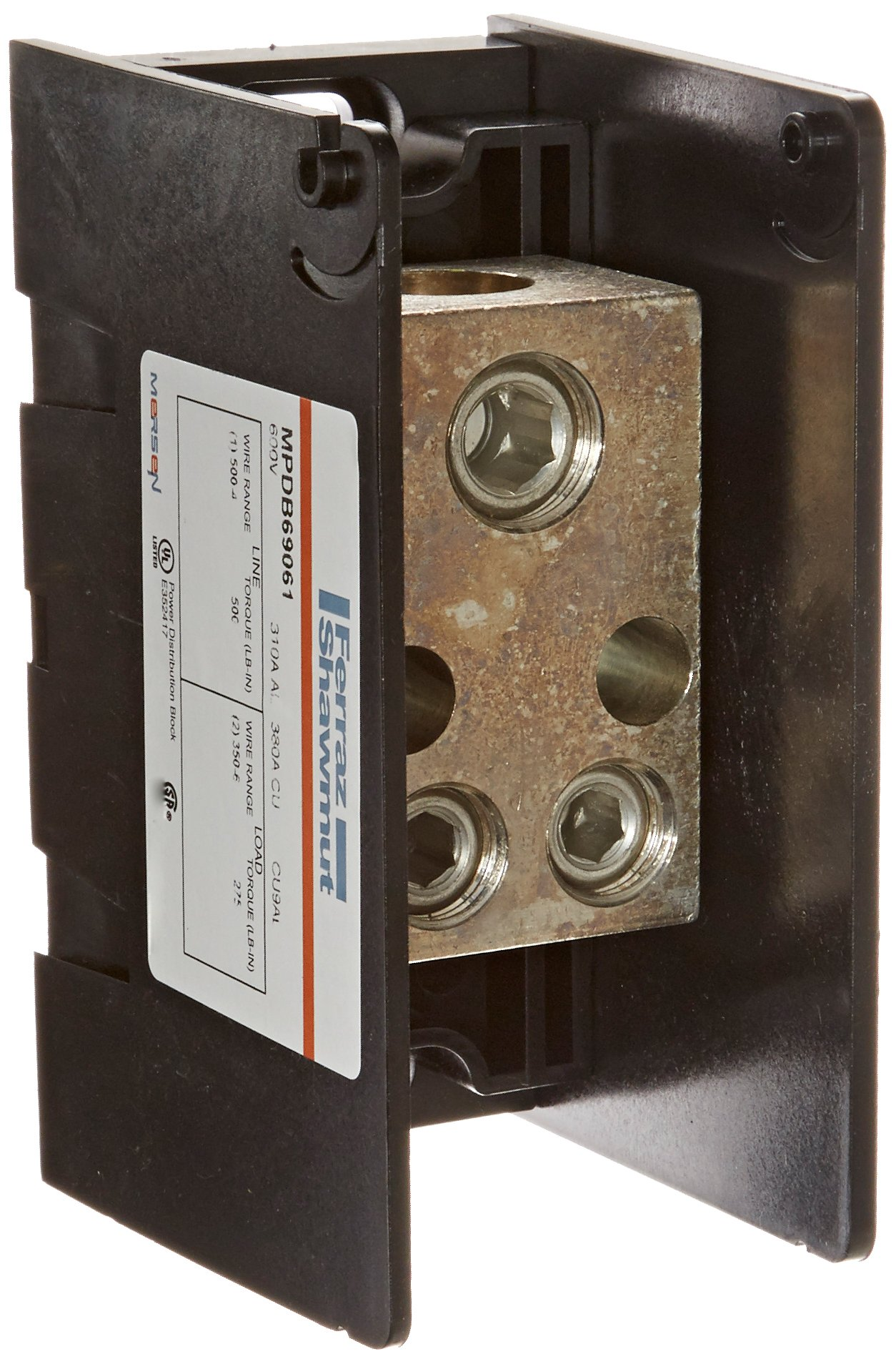 Mersen 69000 Aluminum Large Open Style Box to Stud PDB with 1-Pole and 20 Stud, #10-14 Wire Size, 350 Ampere by Mersen