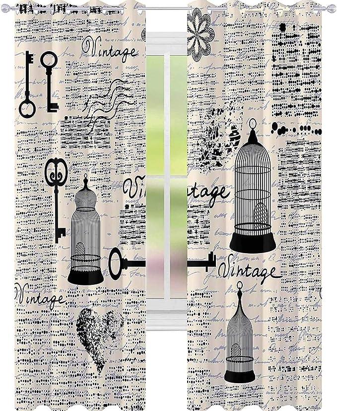 YUAZHOQI Cortinas con diseño de periódico antiguo con jaulas de pájaros, llaves, forma de corazón, cortinas opacas para sala de estar, 132 x 274 cm