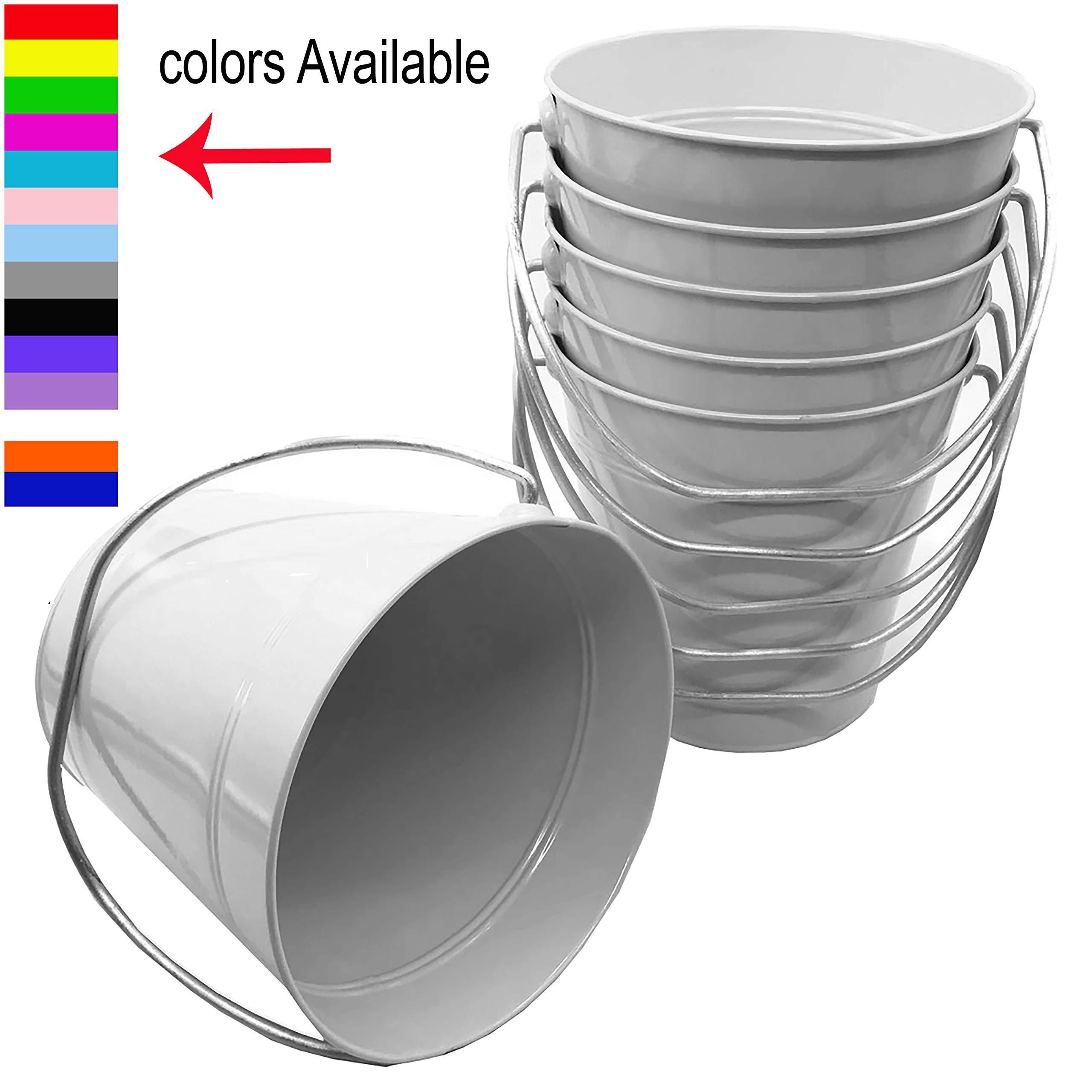 Italia Metal Bucket 3.7 Quart color White Size 7.5 x 7.5'' 6-Pack by ITALIA